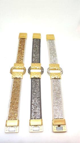 Armband Strass gold silber grau Gürtel  Damen Magnet NEU Wickelarmband Schnalle
