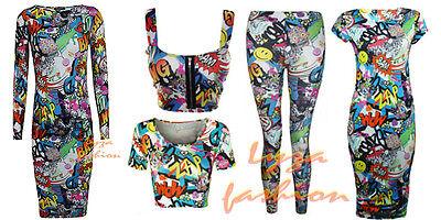 Sparsam L143 Womens Ladies Comic Cartoon Graffiti Print Leggings Crop Top Midi Dress QualitäT Und QuantitäT Gesichert