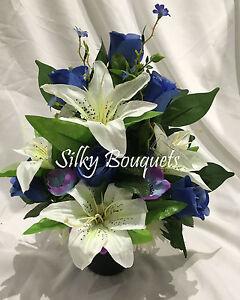 Artificial silk flower blue daisy grave pot arrangement front facing image is loading artificial silk flower blue daisy grave pot arrangement mightylinksfo
