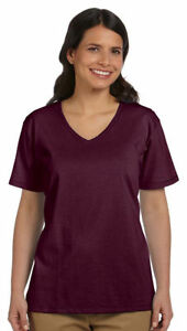 Hanes-Relaxed-Fit-Women-039-s-100-Cotton-ComfortSoft-V-neck-T-Shirt-5780