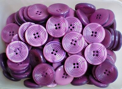 W530 Large 28mm 44L Pink Fuchsia Magenta 4 Hole Ribbed Chunky Coat Buttons