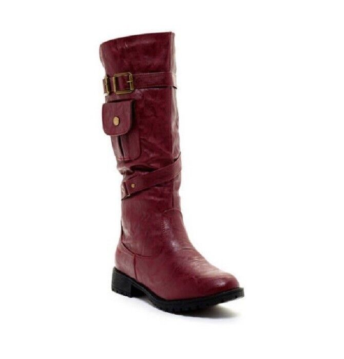 Carrini Ca Collection Women's Fashion Double Buckle Lace-up Boots Size 8.5