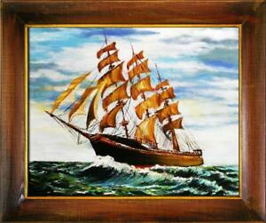 Painting-Oil-Picture-Frame-Ships-Schifftsfahrt-06110