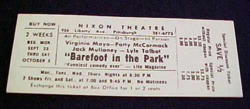 BAREFOOT IN THE PARK Unused 1960/'s Ticket MAYO /& MCCORMACK Talbot Nixon Theater