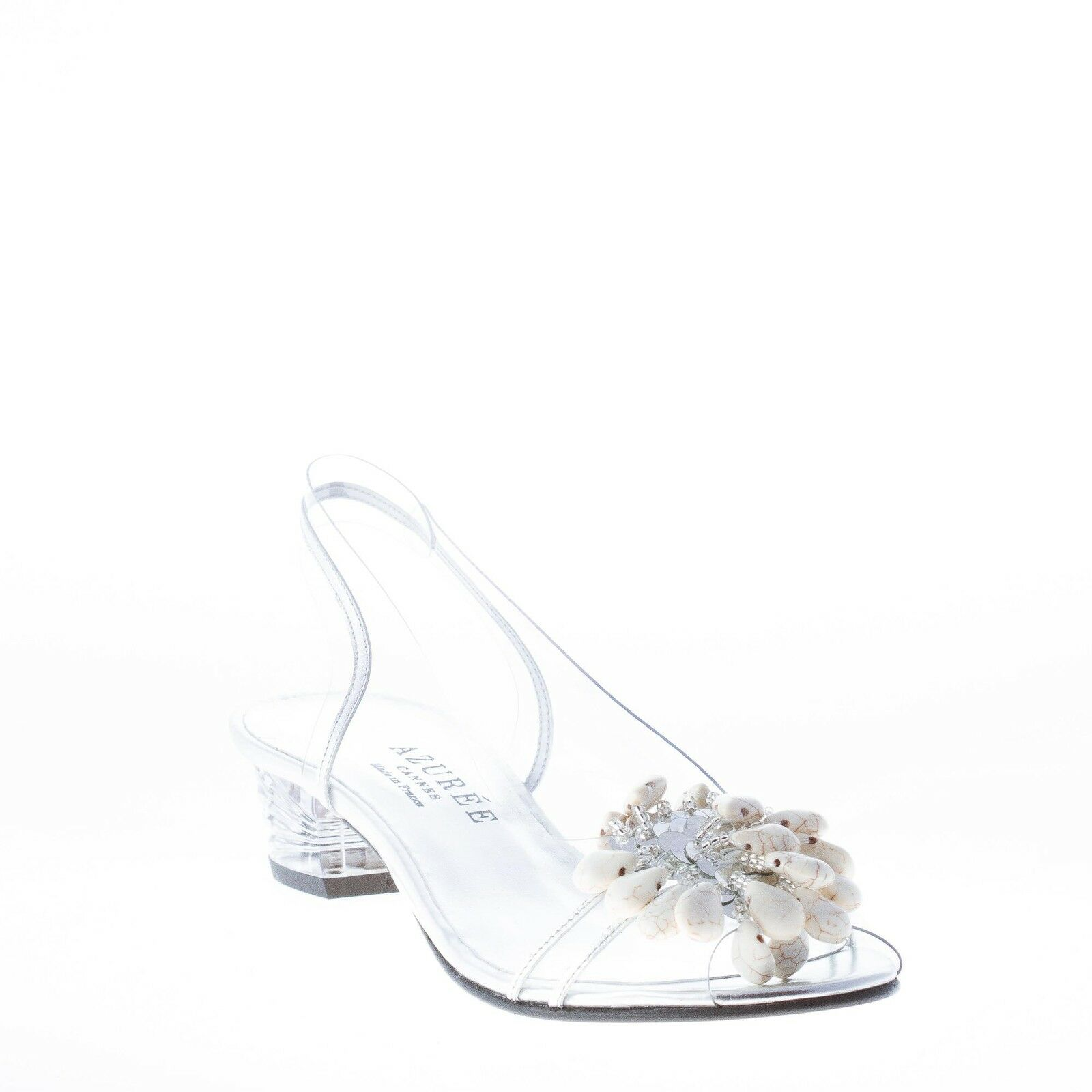 AZUREE CANNES silver women shoes Transparent NUAGO sandal silver CANNES leather Ivory stones f1a391