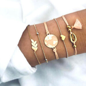 5-Pcs-Mode-Femmes-Boho-Coeur-Coquillage-Tassel-Perles-Bracelet-Bracelet-Bijoux