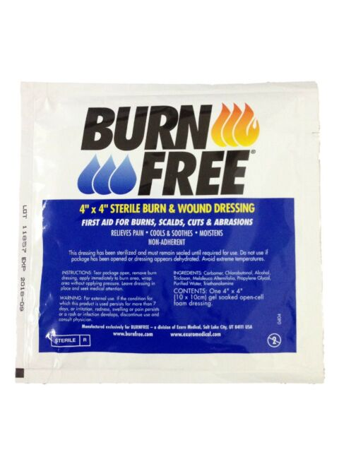 "Burn Free Dressing Burnfree 4"" Inch Bandage Water Gel First Aid Gel IFAK EMT EMS"