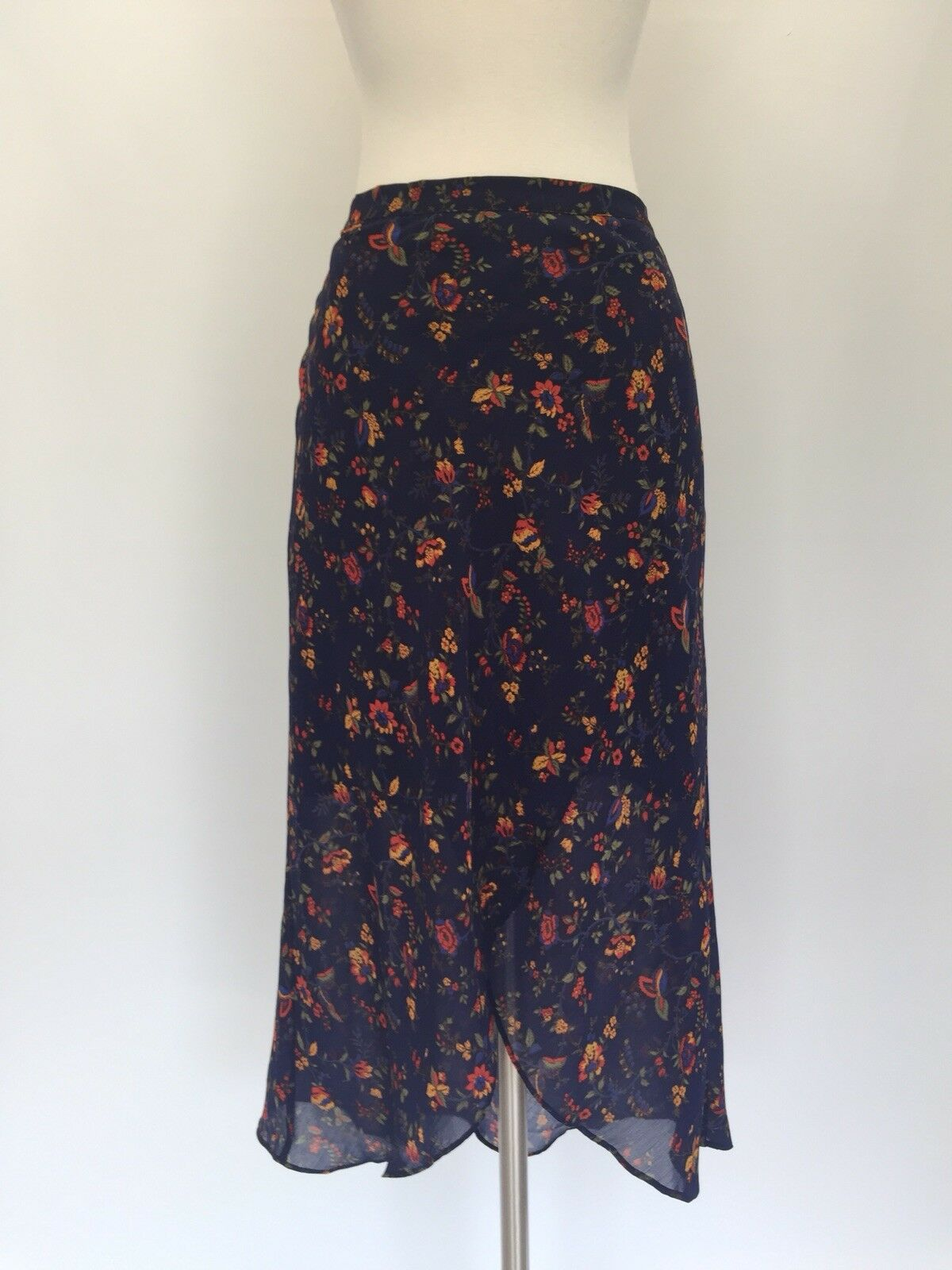 New Madewell Faux-wrap Midi Skirt in Climbing Vine Sz 0 H2547