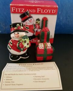 Fitz-and-Floyd-2006-Snowman-Salt-amp-Pepper-Shaker-Set-Holiday-Christmas-Gift-Box