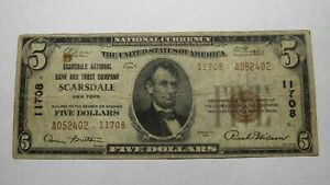 5-1929-Scarsdale-New-York-NY-National-Currency-Bank-Note-Bill-Ch-11708-FINE