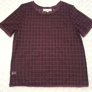 Ann-Taylor-LOFT-Womens-Large-Burgundy-Sheer-Short-Sleeve-Shirt-Blouse-Top-Red