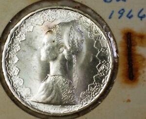 1966-Italy-Silver-500-Lira-Renaissance-Woman-and-Boat-BU-Silver-Coin