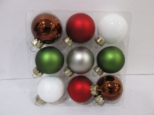 "Christmas Woodland MINI Glass Ball Red Brown Green Ornaments Decor 1.5/"" Set of 9"