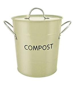Small Yellow Metal Kitchen Worktop Composting Bin For Food Waste Recycling