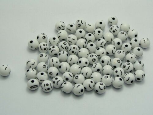200 White with Black Assorted Smile Face Round Beads 8mm