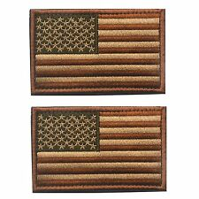 2 Tactical USA Flag Patch Subdued Tan Velcro American Flag Embroidered Brown US