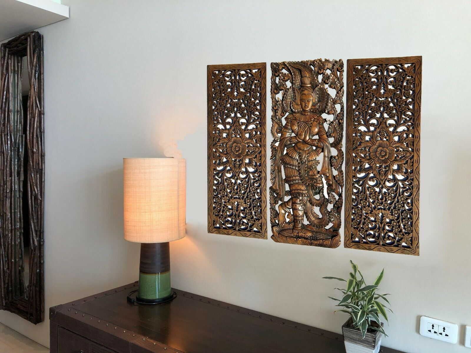 Floral und Sawadee Gruß Carved Wood Wall Art Panel.Asian Home Decor Set of 3