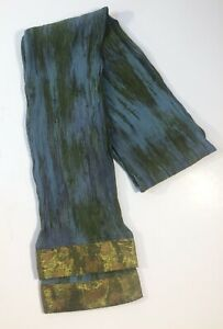 Handmade-Silk-Scarf-Blue-Green-Banding-Green-Sparkly-and-Leaf-Design-6-034-x58-034