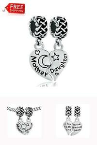 Image Is Loading 925 Sterling Silver Heart Charm Beads Mother Daughter