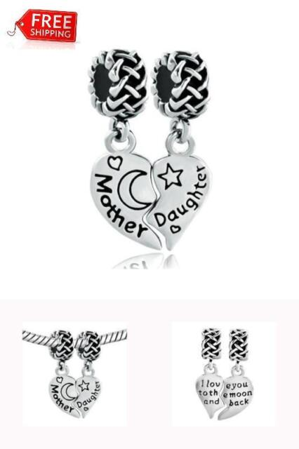 925 Sterling Silver Heart Charm Beads