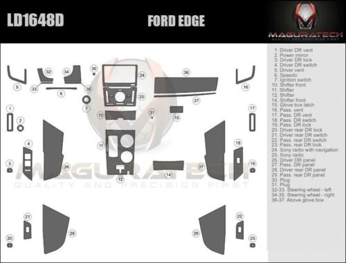 Dash Trim Kit for FORD EDGE 11 12 13 14 carbon fiber wood aluminum