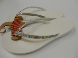 6b50a874ffbcd Image is loading FITFLOP-WOMENS-SANDALS-IQUSHION-SPARKLE-URBAN-WHITE-SIZE-