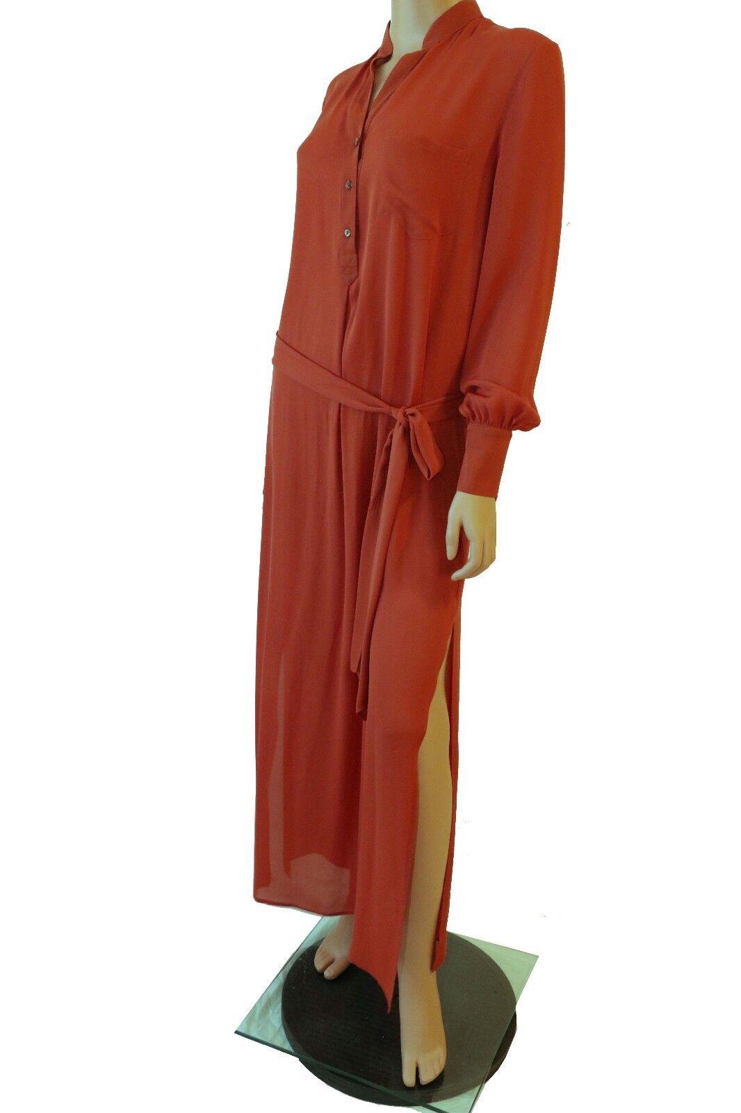 Haute Hippie Brown Long Sleeve Front Button Button Button Up Shirt Maxi Dress With Belt 0e8ad7