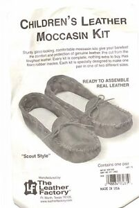 Native Heritage Leather BABY Scout Style Moccasin Kit - LARGE - TAN - Easy NEW!