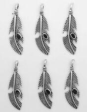 Lot de 6 breloques pendentifs plumes en métal argent antique  39 mm-bc206