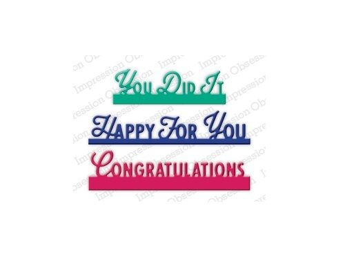 DIE435-L CONGRATS TOP EDGERS DIE-Impression Obsession//IO Stamps -Sentiment-Word