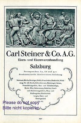 Eisenwaren Steiner Salzburg Xl Reklame 1929 Eisen Werbung Schmiede +