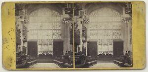 San George's Chapel Windsor Interno UK Foto Vintage Stereo Albumina