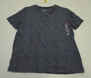 new-MERONA-T4760-Men-039-s-Size-L-Casual-100-Cotton-Blue-Striped-Shirt
