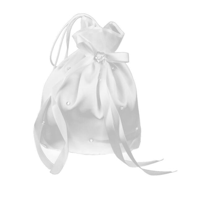 Wedding Bridesmaid Flower Girl Drawstring Dolly Bag White Satin Crystal Deco