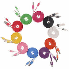1M V8 Flat Noodle Micro USB Charger Sync Data Cable for Android Phones Samsung