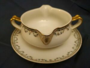 ANTIQUE-HAVILAND-amp-CO-FRANCE-LIMOGES-DURANA-GRAVY-BOAT-W-ATTACHED-UNDERPLATE
