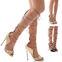 LADIES WOMENS HIGH HEEL LACE UP SANDALS TIE UP THE LEG PARTY EVENING SHOES SIZE