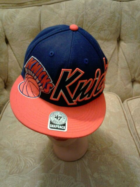 new product 93cef 6c838 New York Knicks Flat Bill Snapback Forty Seven Brand Hat Blue Orange One  Size VG