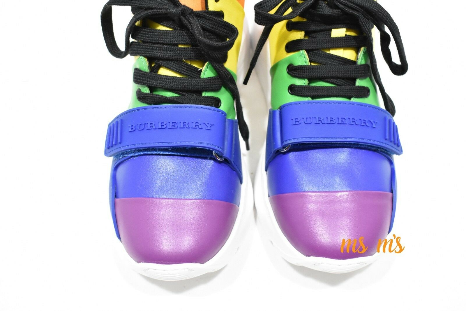 NIB Burberry REGIS RAINBOW HIGH TOP SNEAKERS SMOOTH CALFSKIN CALFSKIN CALFSKIN SZ EU38 US8 WOMENS ea3382