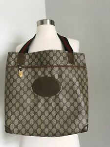 f36e1c15073 VINTAGE GUCCI GG BROWN COATED CANVAS TOTE SHOPPING SHOULDER BAG MADE ...