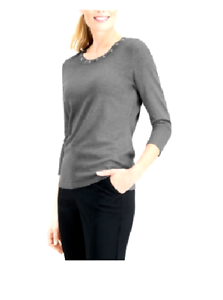 Karen Scott Women/'s Gray 3//4 Sleeve Grommet Knit Sweater Top Size Medium $46