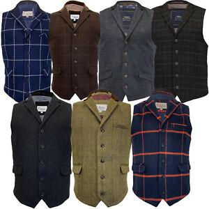 Mens-MARENO-Waistcoat-Wool-Mix-Formal-Vest-Herringbone-Tweed-Check-Velvet-Lined