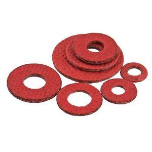 100 ASSORTED PIECE RED FIBRE SEALING FLAT WASHERS M3 M4 M5 M6 M8 M10 M12 M16 KIT