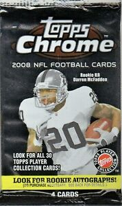 1-2008 TOPPS CHROME NFL ROOKIE CARD PATCH AUTOGRAPH HOBBY HOT PACK SERIAL #ED