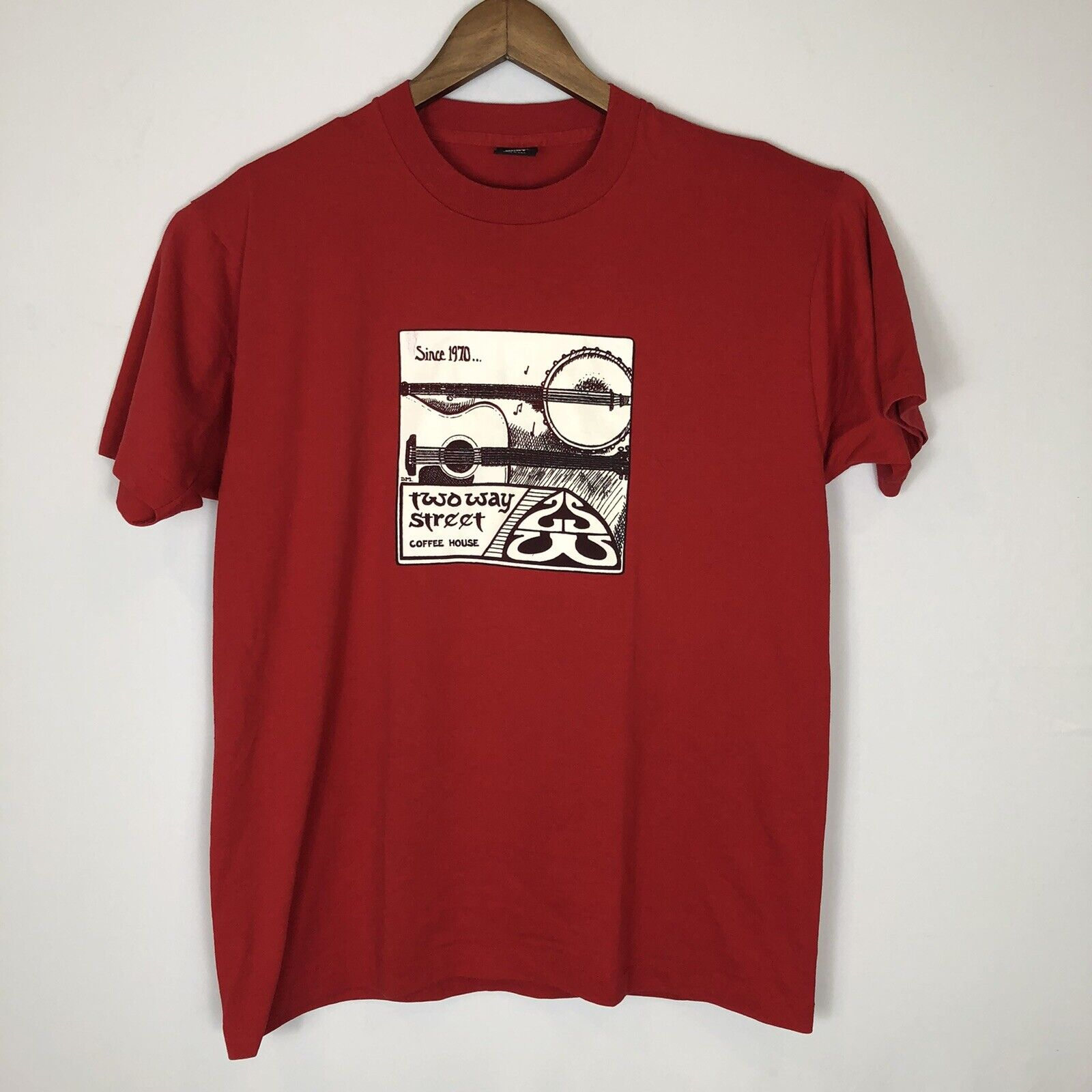 Vintage Screen Stars Two Way Street Coffee House Single Stitch Red T-Shirt XL