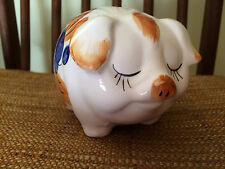 "Adorable Vintage Piggy Bank 50s 60s Ceramic Floral Eyes Closed 5"" Long - Sweet!"