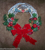 Christmas Grapevine Small Wreath With Angel Folk Art Decorations So Pretty