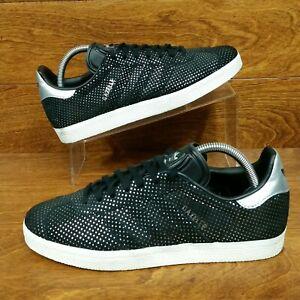 Adidas-Originals-Gazelle-Women-039-s-Size-8-5-Suede-Sneakers-Black-Silver-Dots
