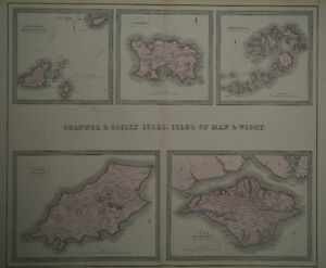 1856 Genuine Antique Large Map Britian's Islands Man, Wight etc G. Philip & Son