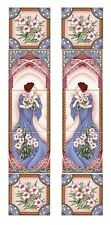 Blue Lady Tile Panel Decorative 5 Tile Panel Hand Decorated in UK (ONE PANEL)